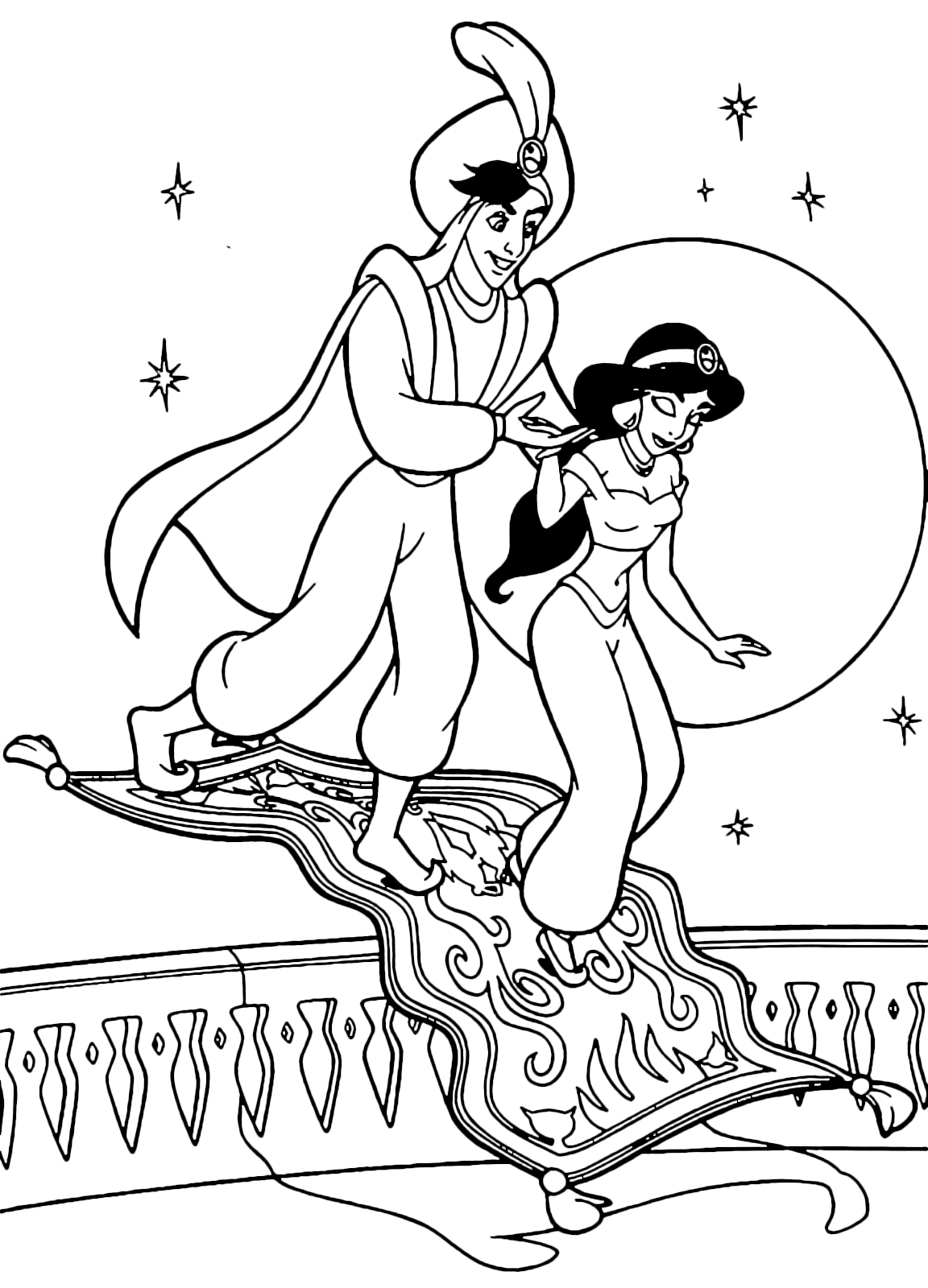 Aladdin - Prince Ali Ababua helps Jasmine get off the flying carpet