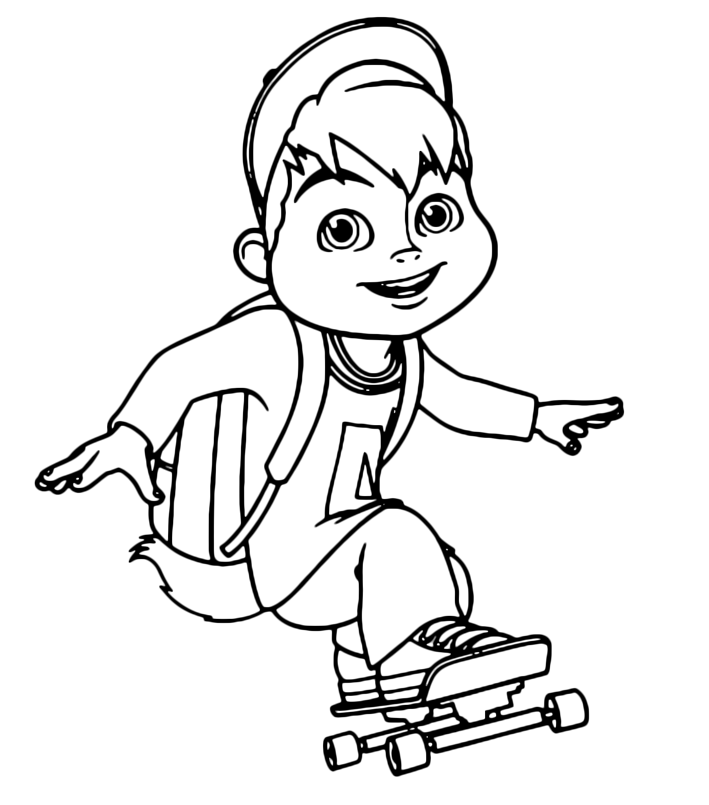 Alvin And The Chipmunks Alvin Hurtling Fast On The Skateboard
