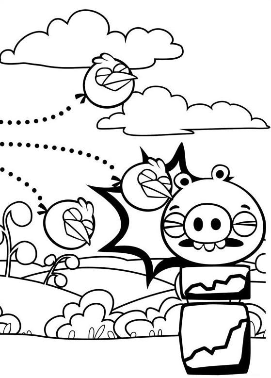 Angry Birds Coloring Page The Blues Is Hitting A Bad Piggies