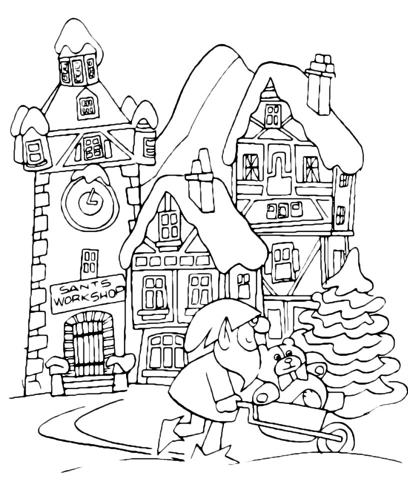 christmas coloring page christmas landscape with gnome