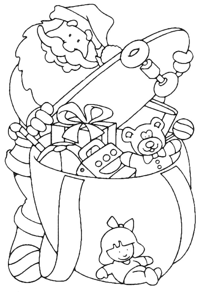 christmas coloring page santa claus fills the bag of gifts