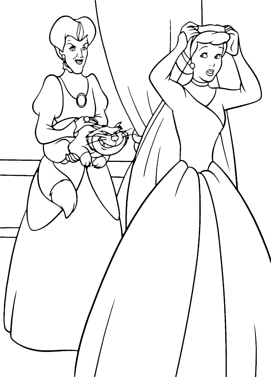 Cinderella Coloring Page Moves Away From Her Stepmother Lady Tremaine And Lucifer