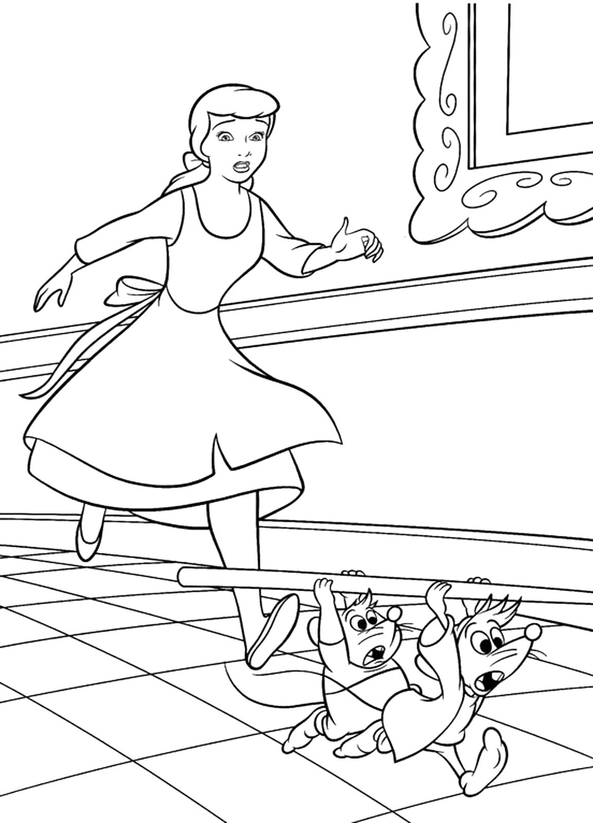 Cinderella - Cinderella runs behind Jaq and Gus the two mice