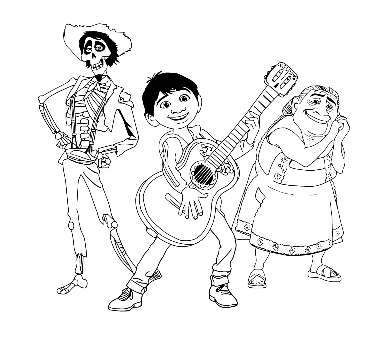 Coco Miguel Plays The Guitar While Abuelita And Hector Watch Him