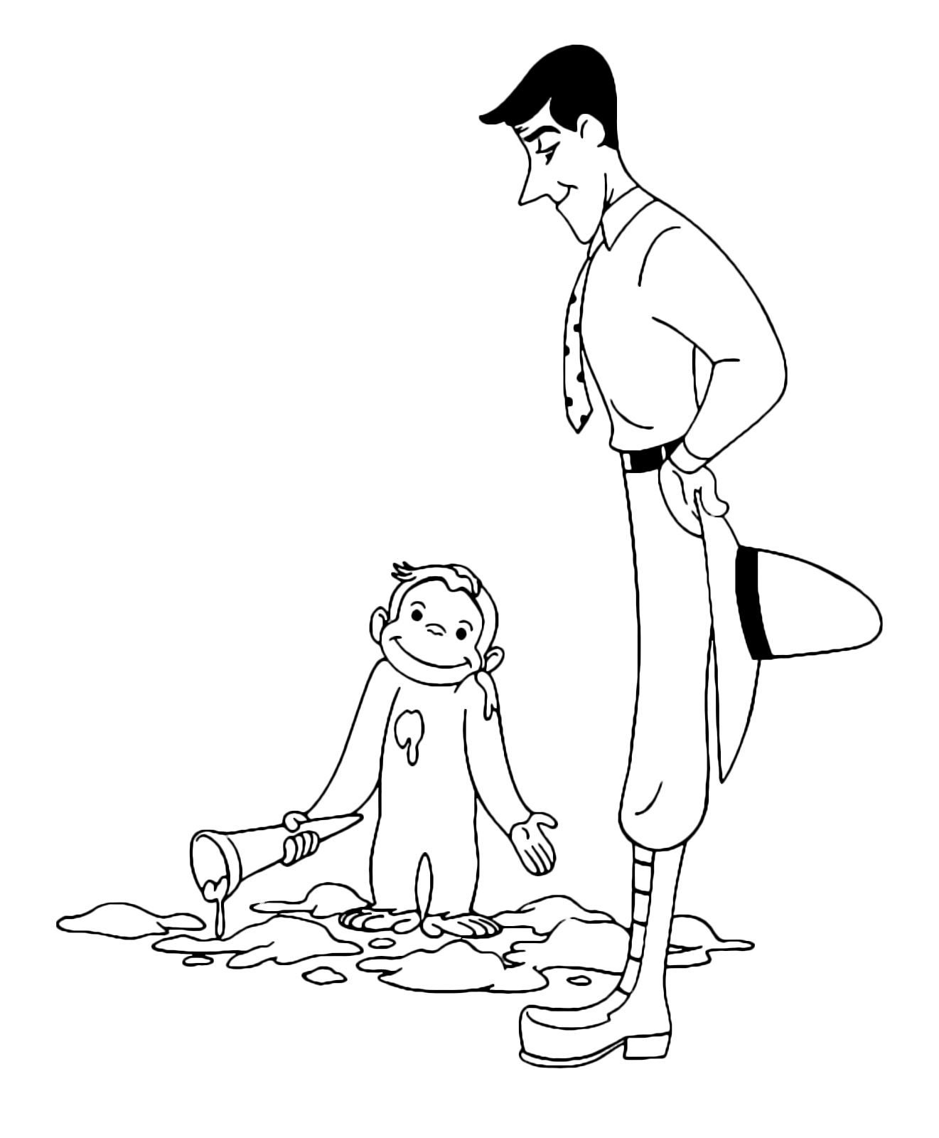 free printable Curious George coloring page | Curious george ... | 1600x1321