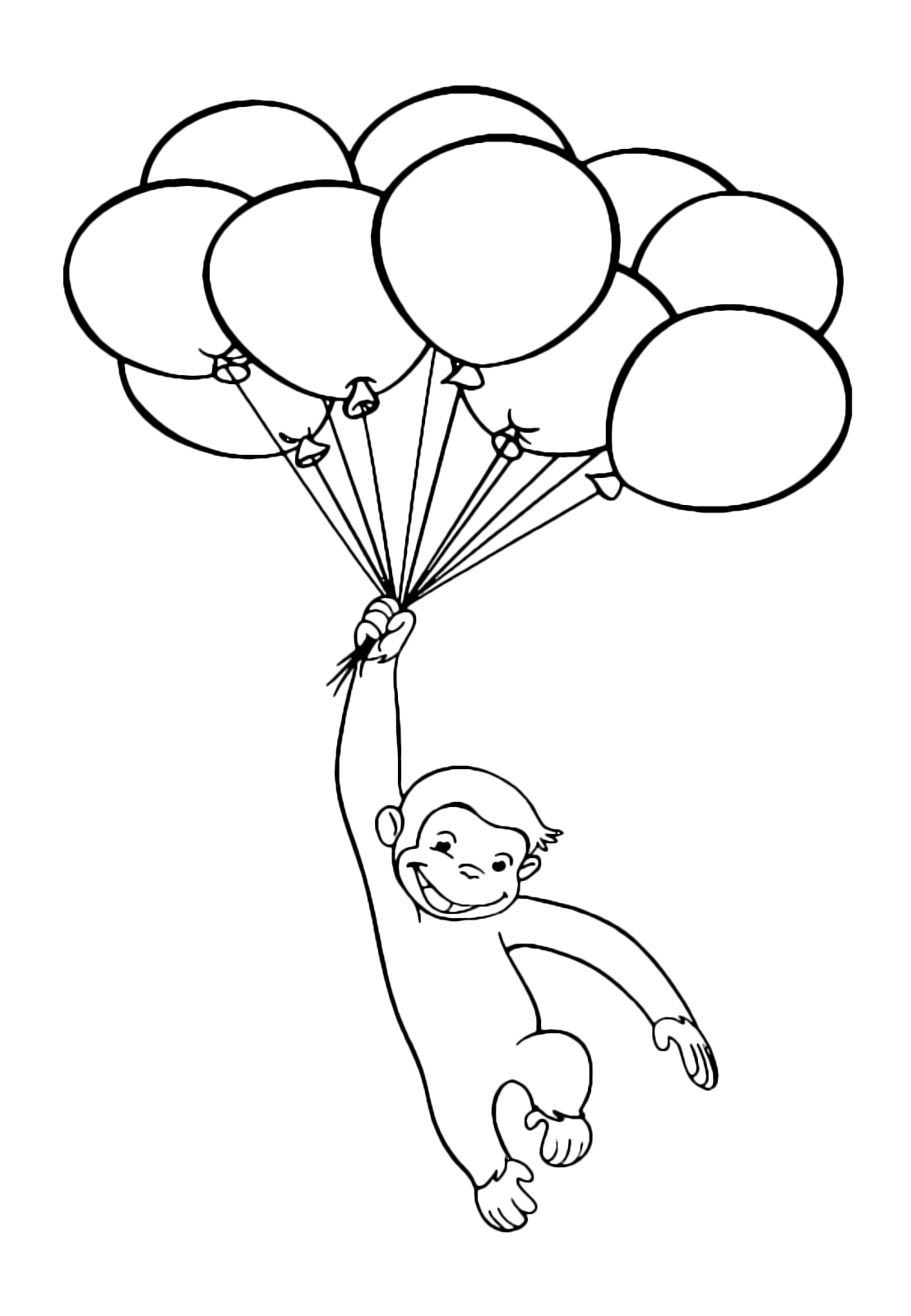 Curious George - George fly attached to balloons