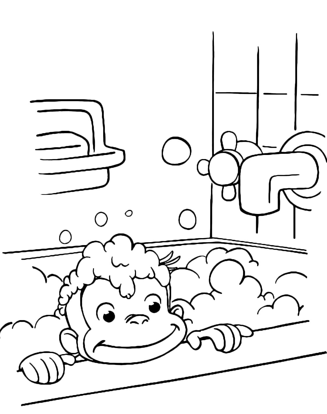 Curious George - George takes a bath with foam
