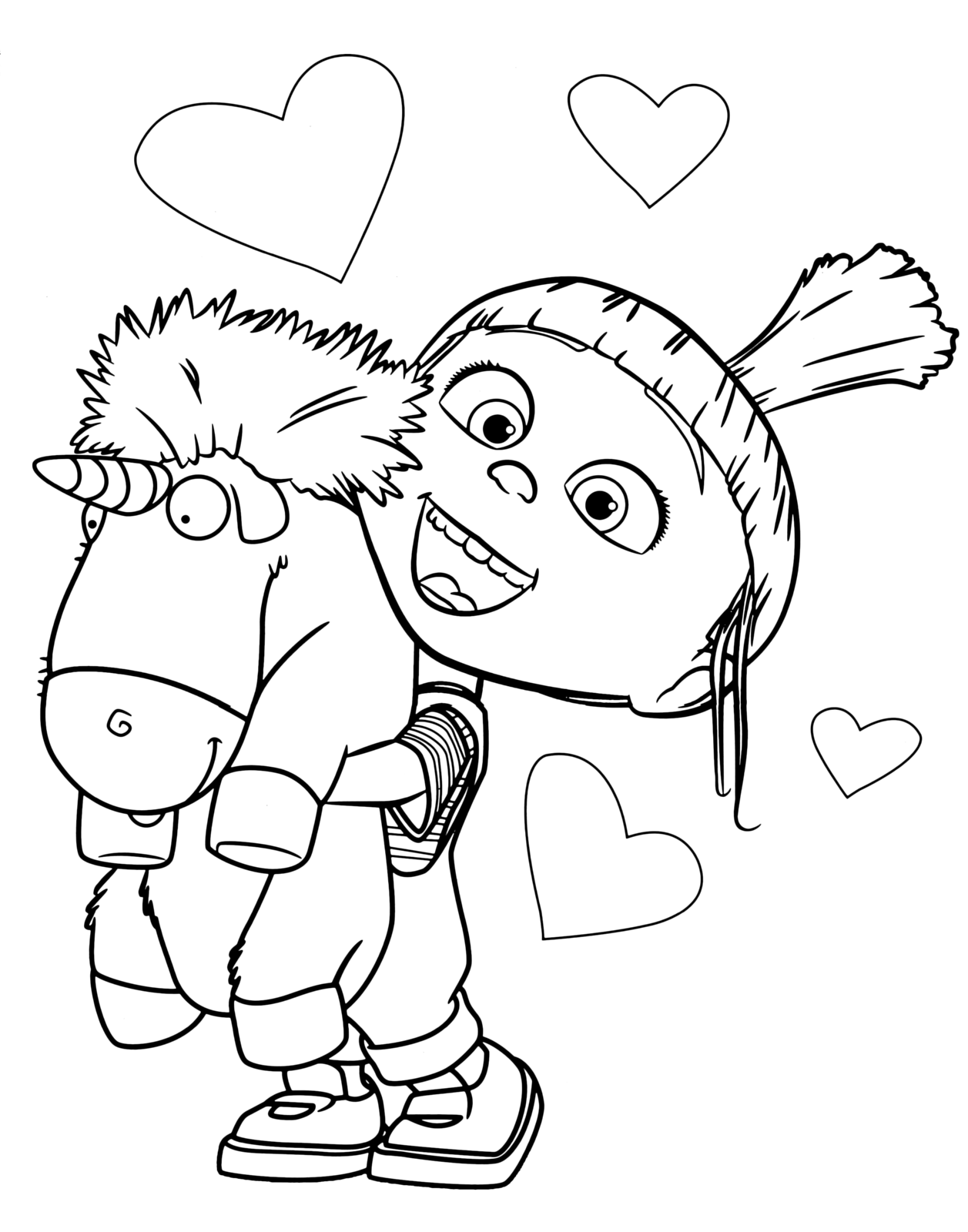Agnes With Unicorn Coloring Page