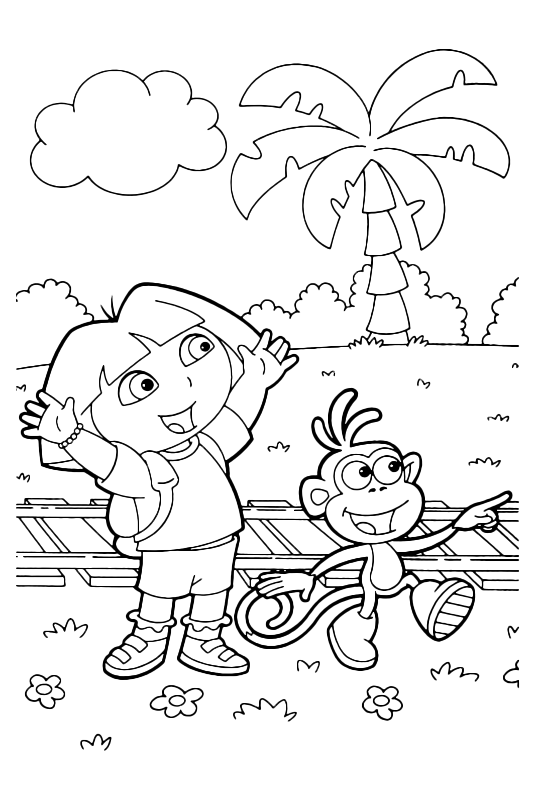 Dora the Explorer - Dora and Boots happy because they found the train tracks