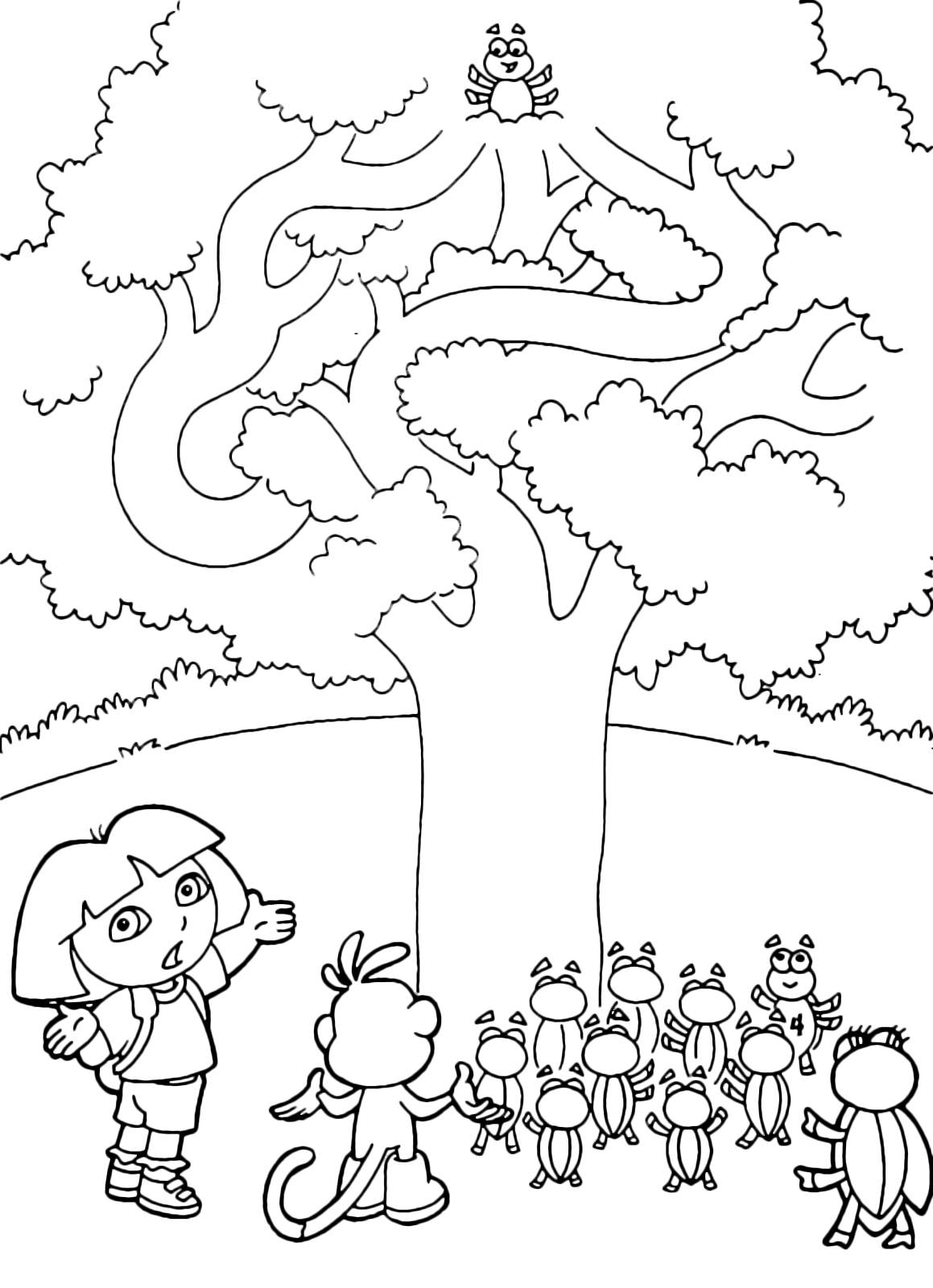Dora the Explorer - Dora and Boots look for a beetle on the tree