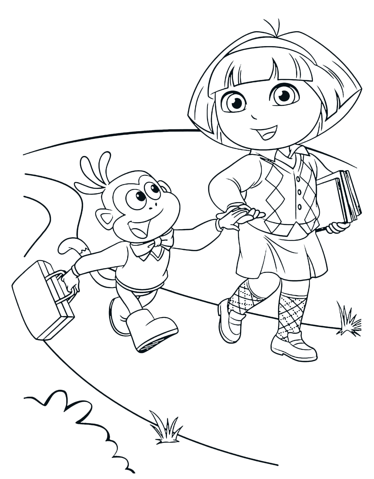 Dora the Explorer - Dora and Boots walk on the street hand in hand