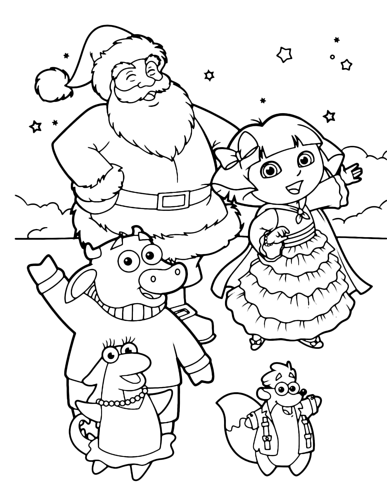Dora the Explorer - Dora and her friends Benny Isa Tyco with Santa Claus