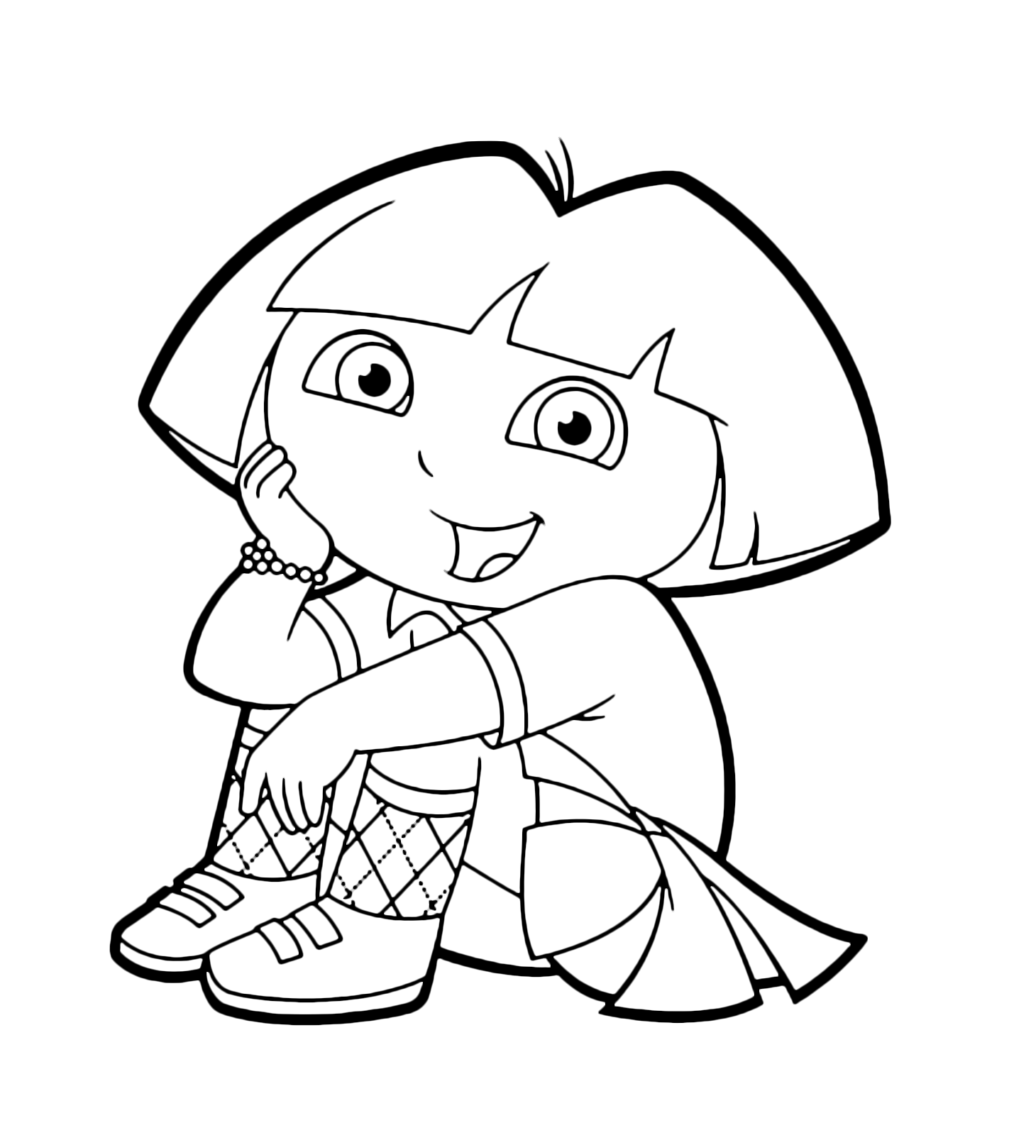 Dora the Explorer - Dora is sitting wearing a pretty skirt