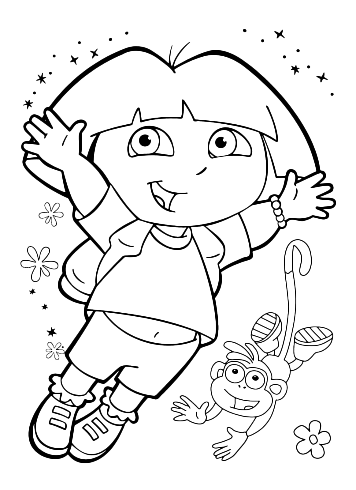 Dora the Explorer - Dora jumps with the Boots monkey