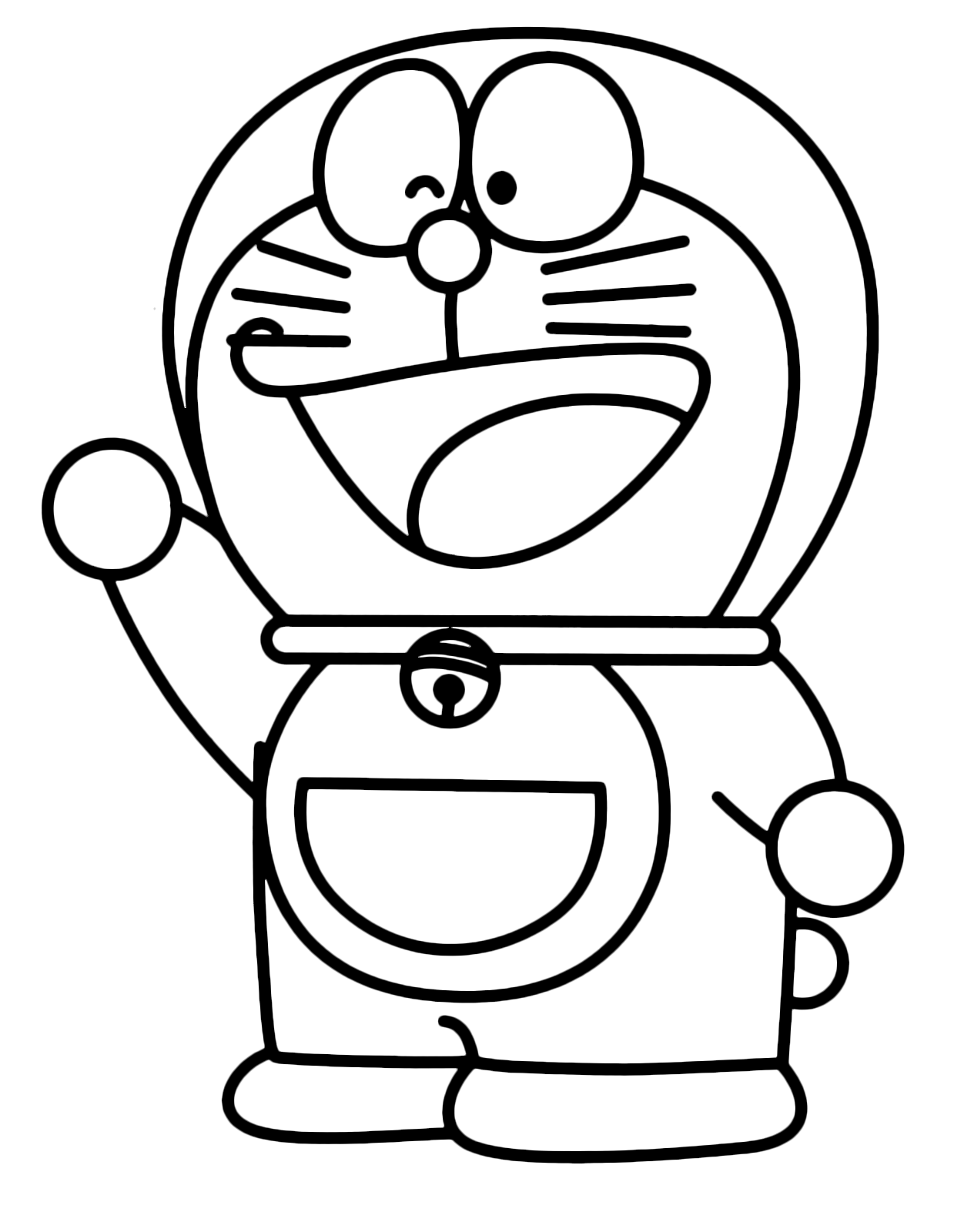 Doraemon - Doraemon is happy and greets with his hand
