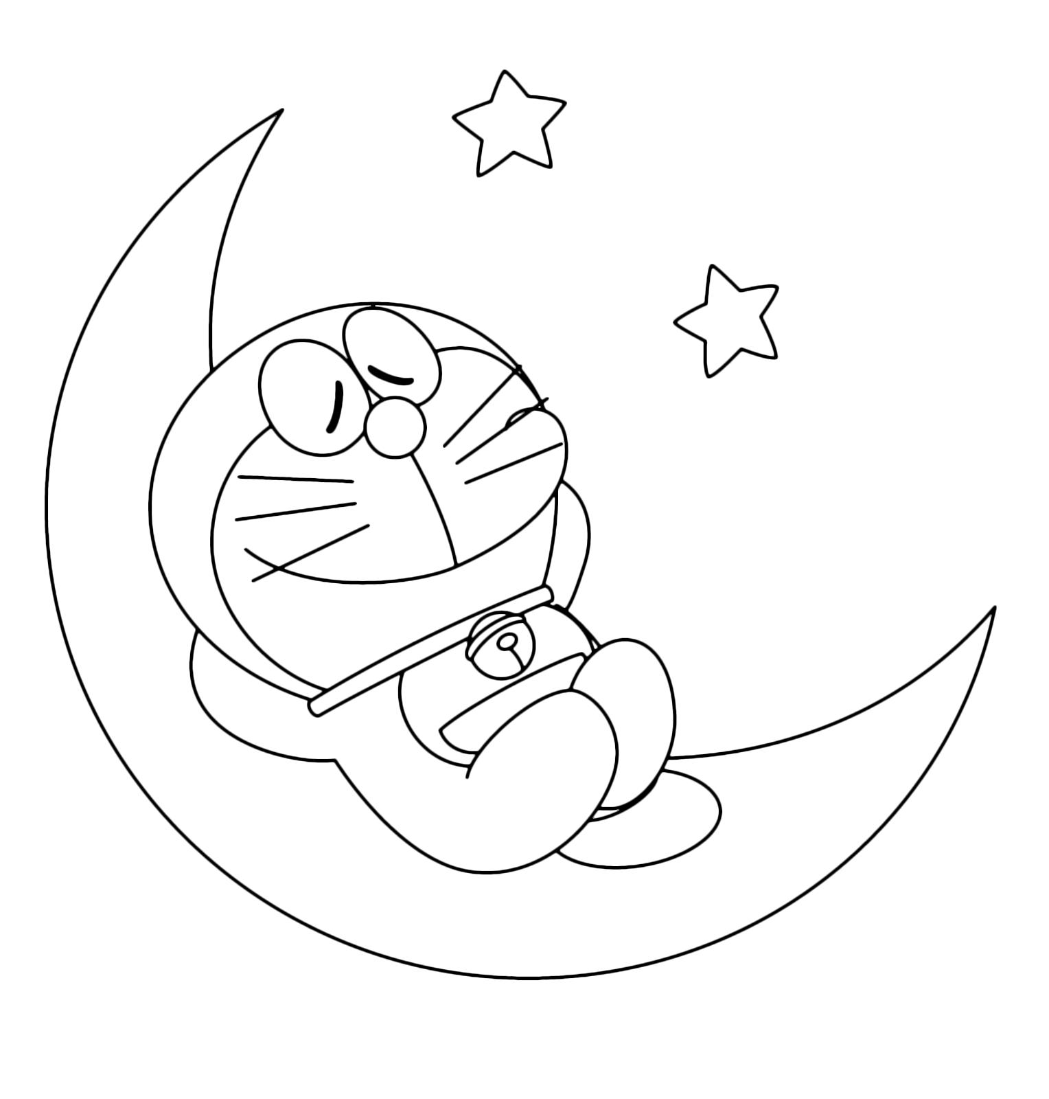 Doraemon Sleeping On The Moon