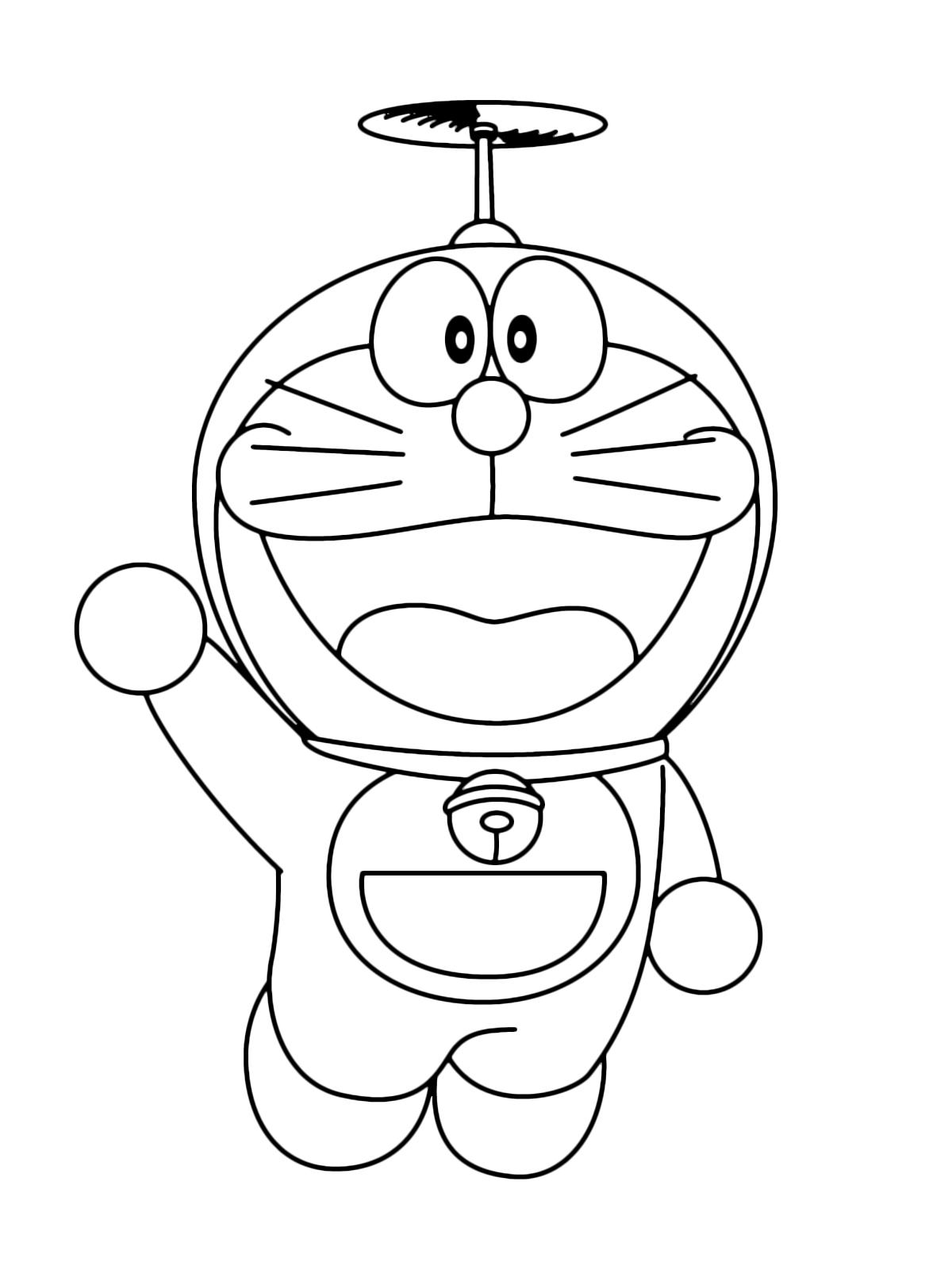 Doraemon - Doraemon while flying with the bamboo-copter greets