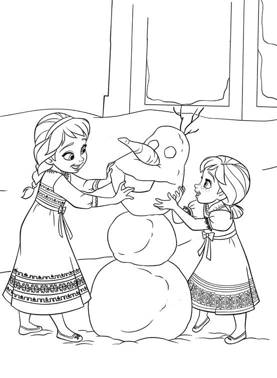 Disegni Da Colorare Frozen Olaf.Frozen Elsa And Anna Little Girls Play With The Snowman Olaf