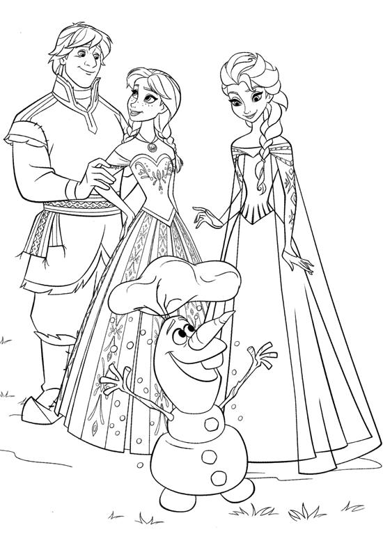 Disegni Da Colorare Elsa E Olaf.Frozen Elsa Anna Kristoff And Olaf Happy Together