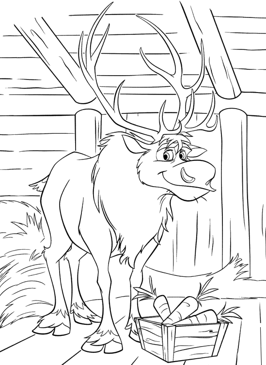 Frozen - The reindeer Sven in the barn with a crate of carrots