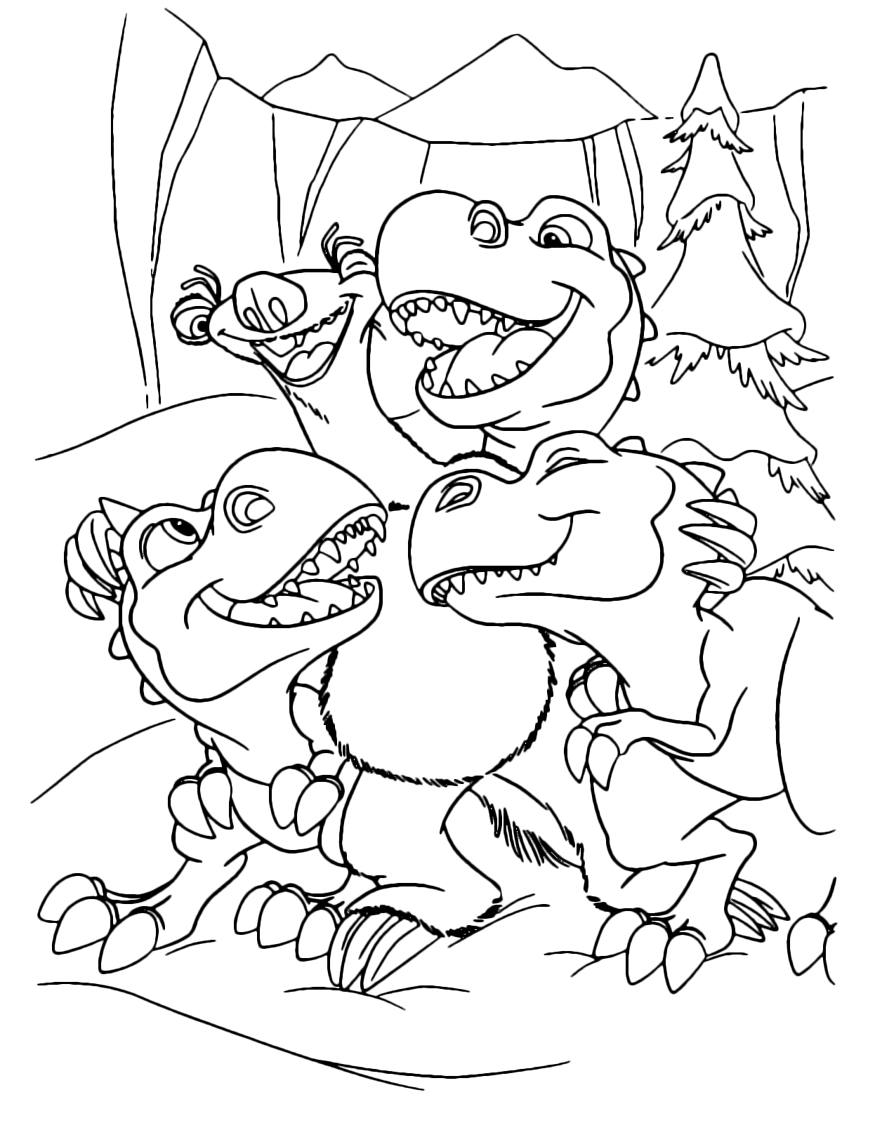 Ice Age - Sid embraces the puppies of T-rex Egbert, Yoko, and Shelly