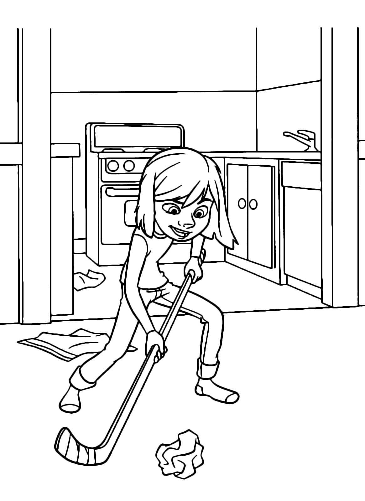 Inside Out Coloring Page Riley Plays Hockey In The New House With A Paper Ball
