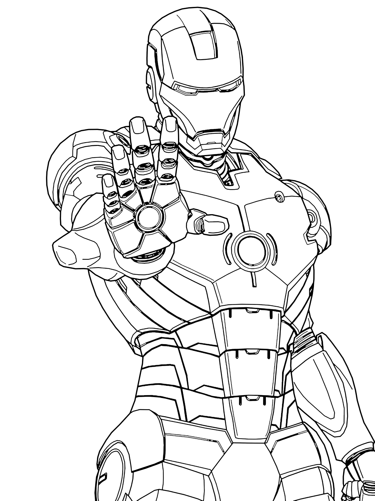 Iron man iron man ready to shoot with the palm of his hand for Disegni da colorare iron man