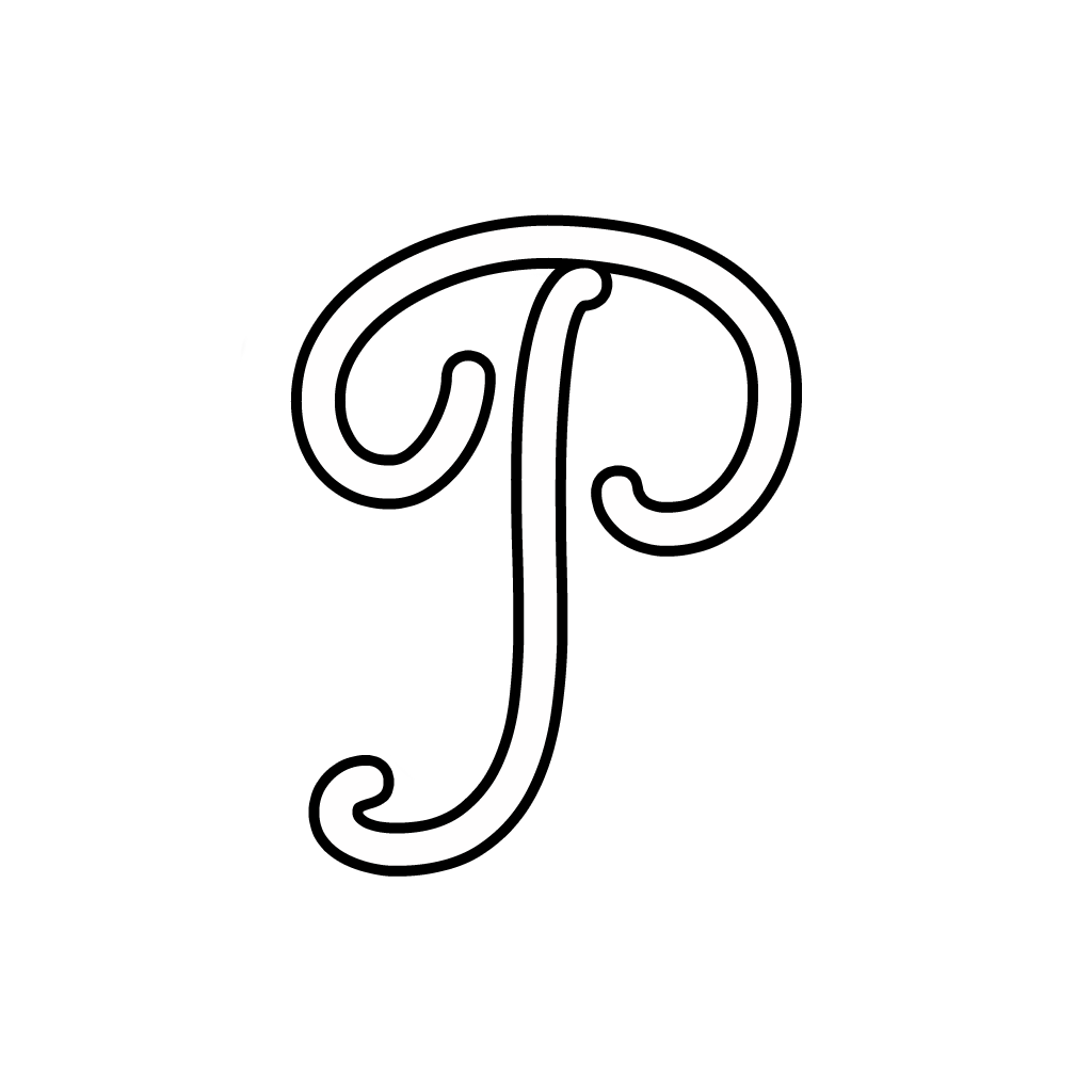 and numbers cursive uppercase letter p