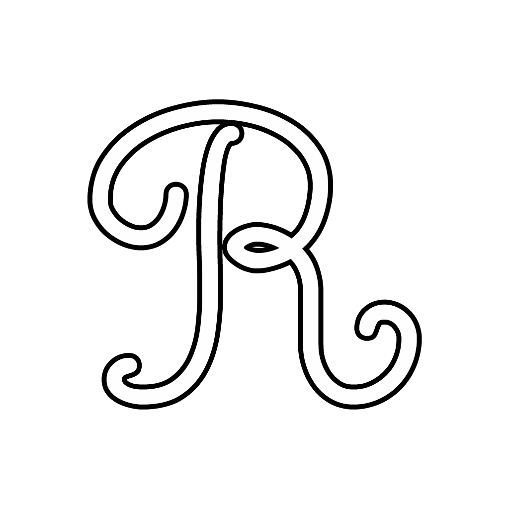 Letters and numbers cursive uppercase letter r