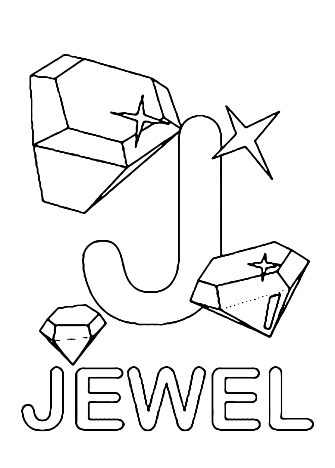 Letters and numbers - J for jewel uppercase letter