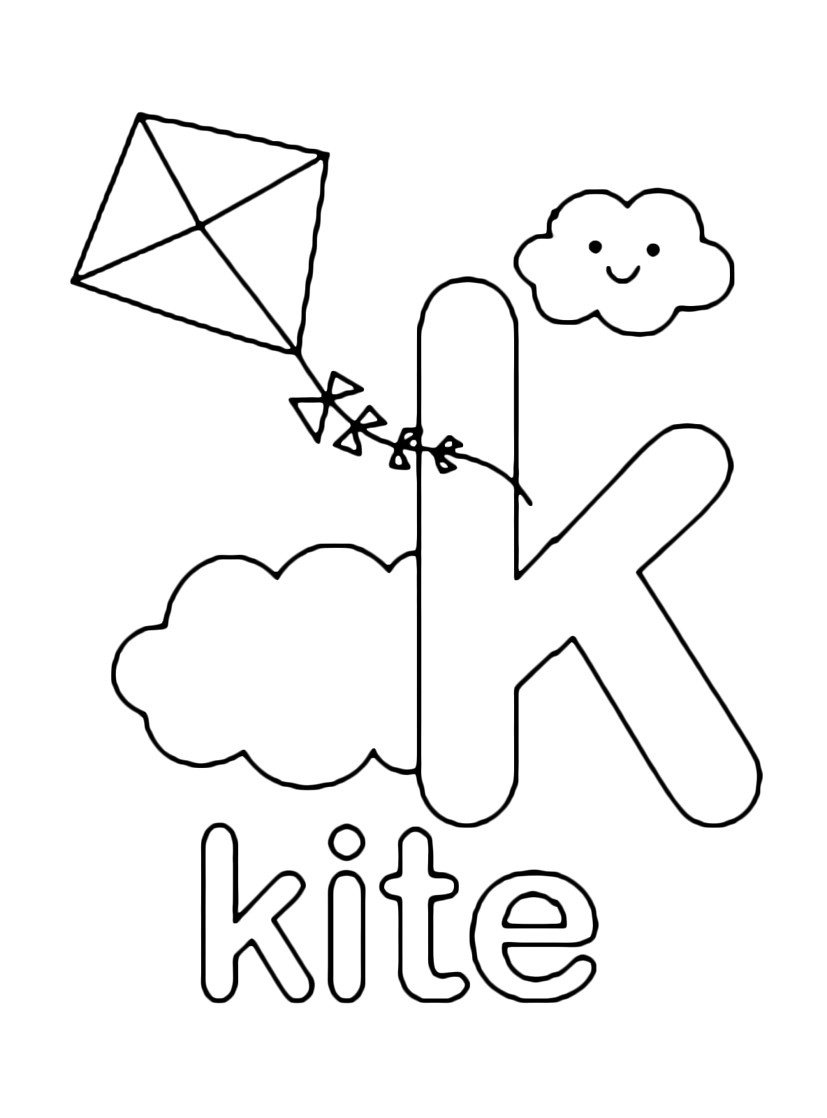 Letters and numbers - k for kite lowercase letter