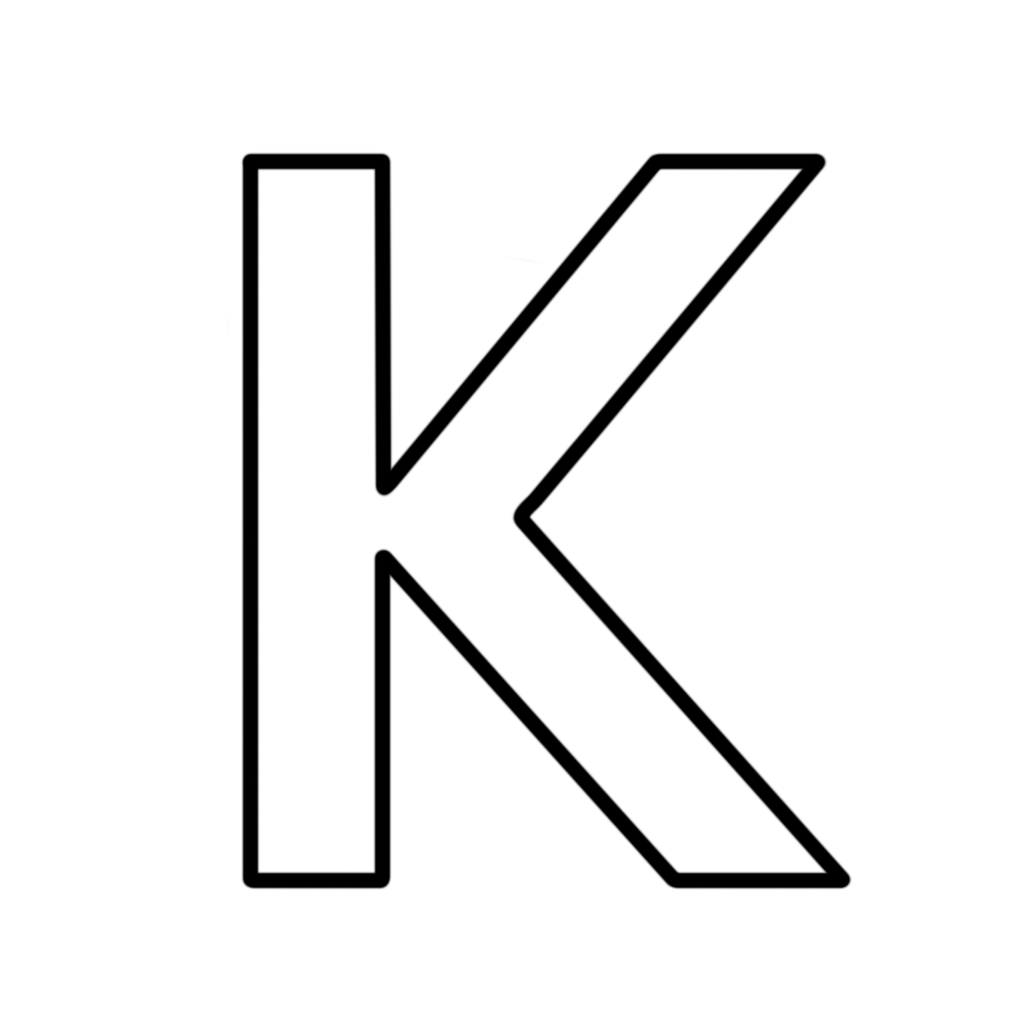 Letters and numbers   Letter K block capitals