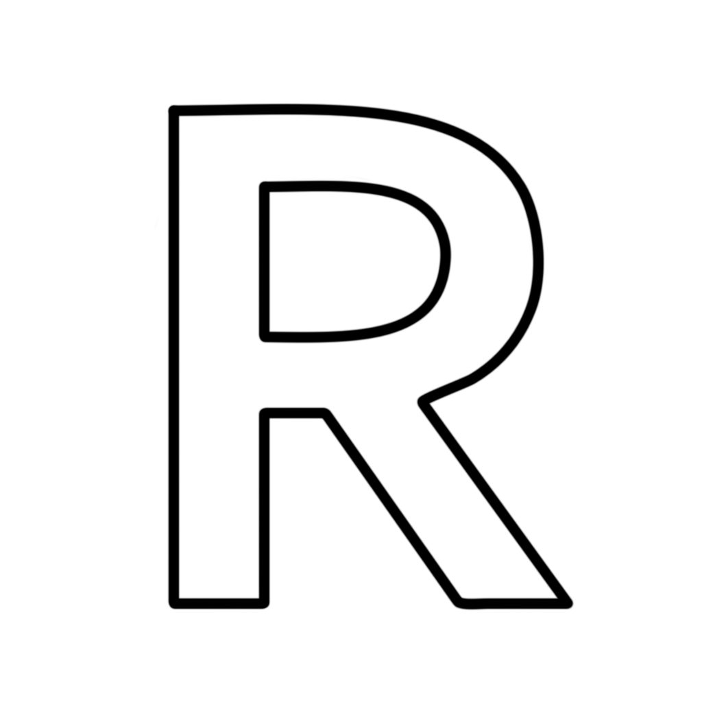 Letters and numbers letter r block capitals