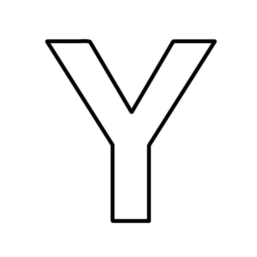 Letter Y Coloring Pages: Letter Y Block Capitals
