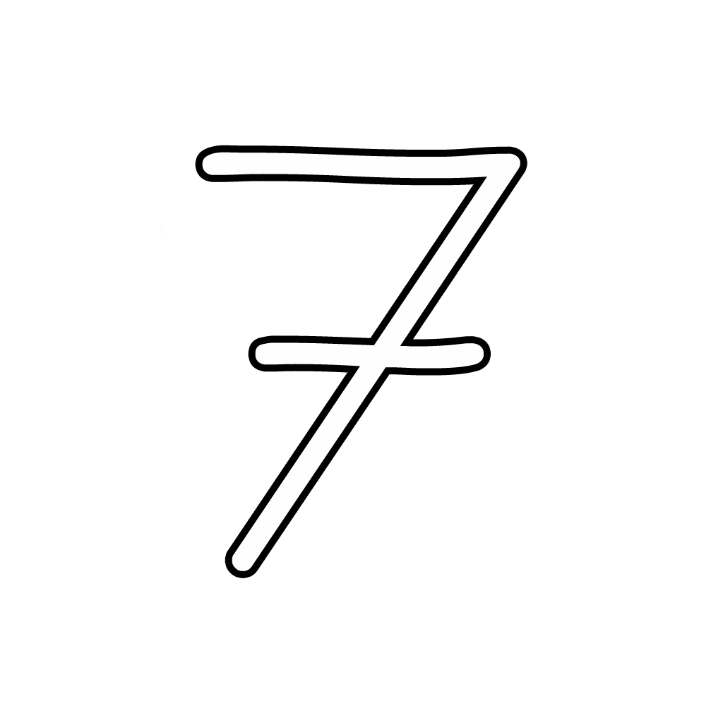 Letters and numbers - Number 7 (seven) cursive