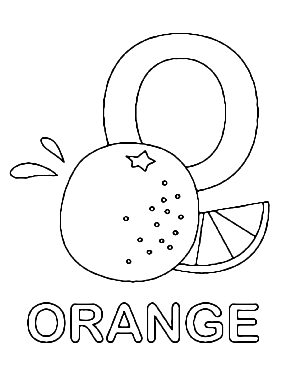 Letters and numbers - O for orange uppercase letter