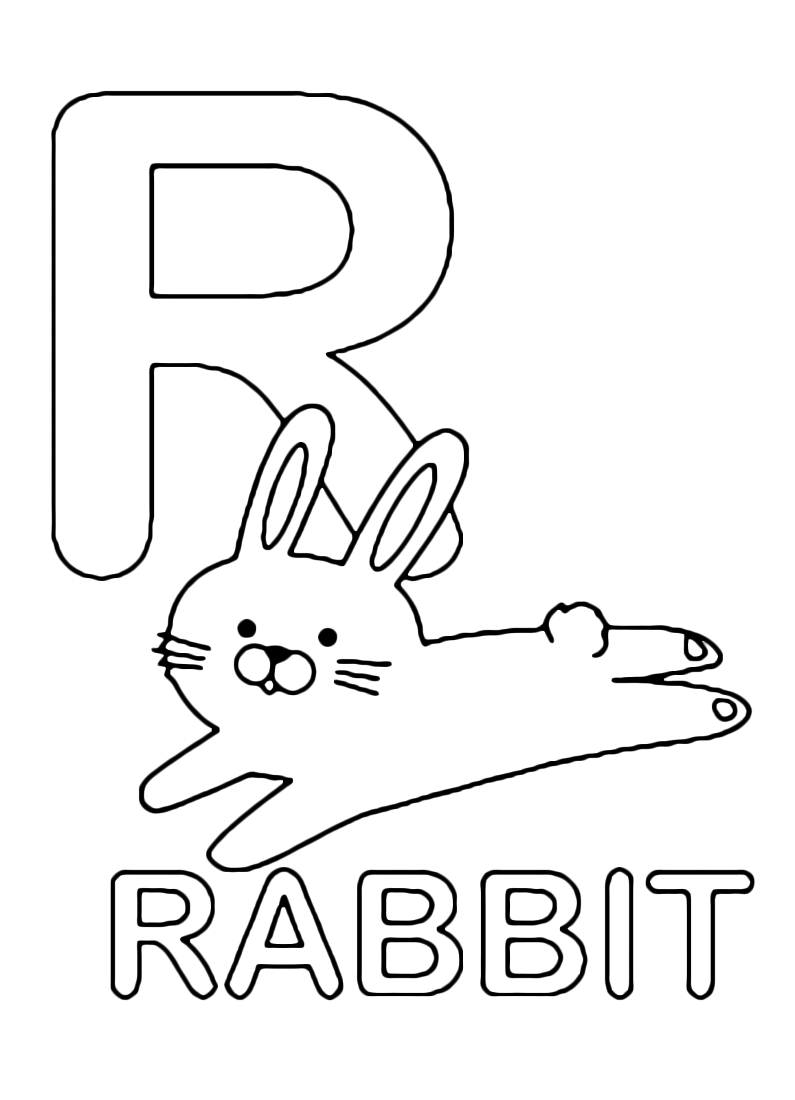 Letters and numbers - R for rabbit uppercase letter