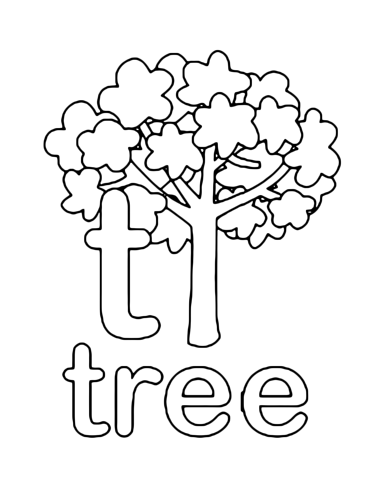 Letters and numbers - t for tree lowercase letter