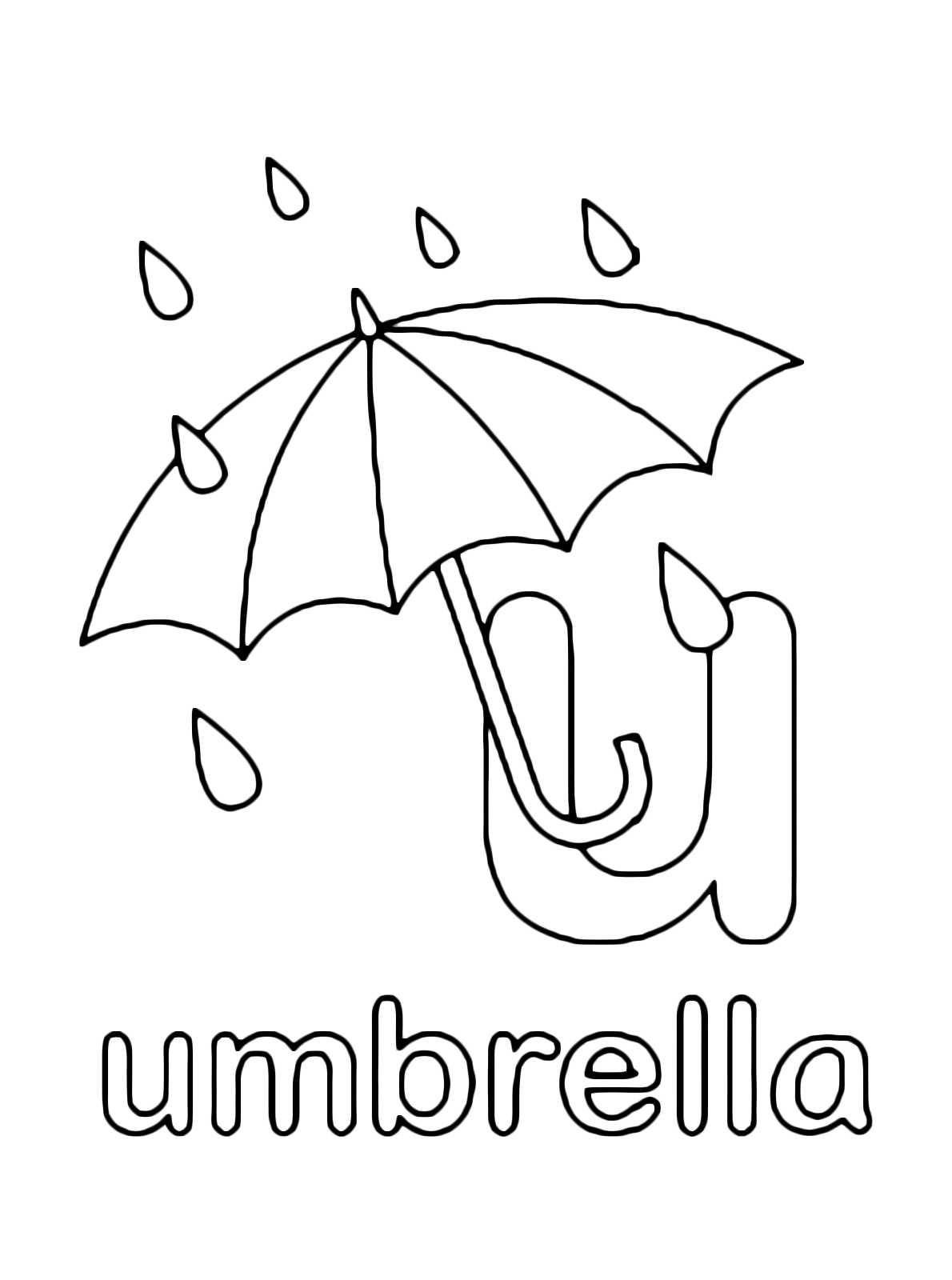 U For Umbrella Lowercase Letter
