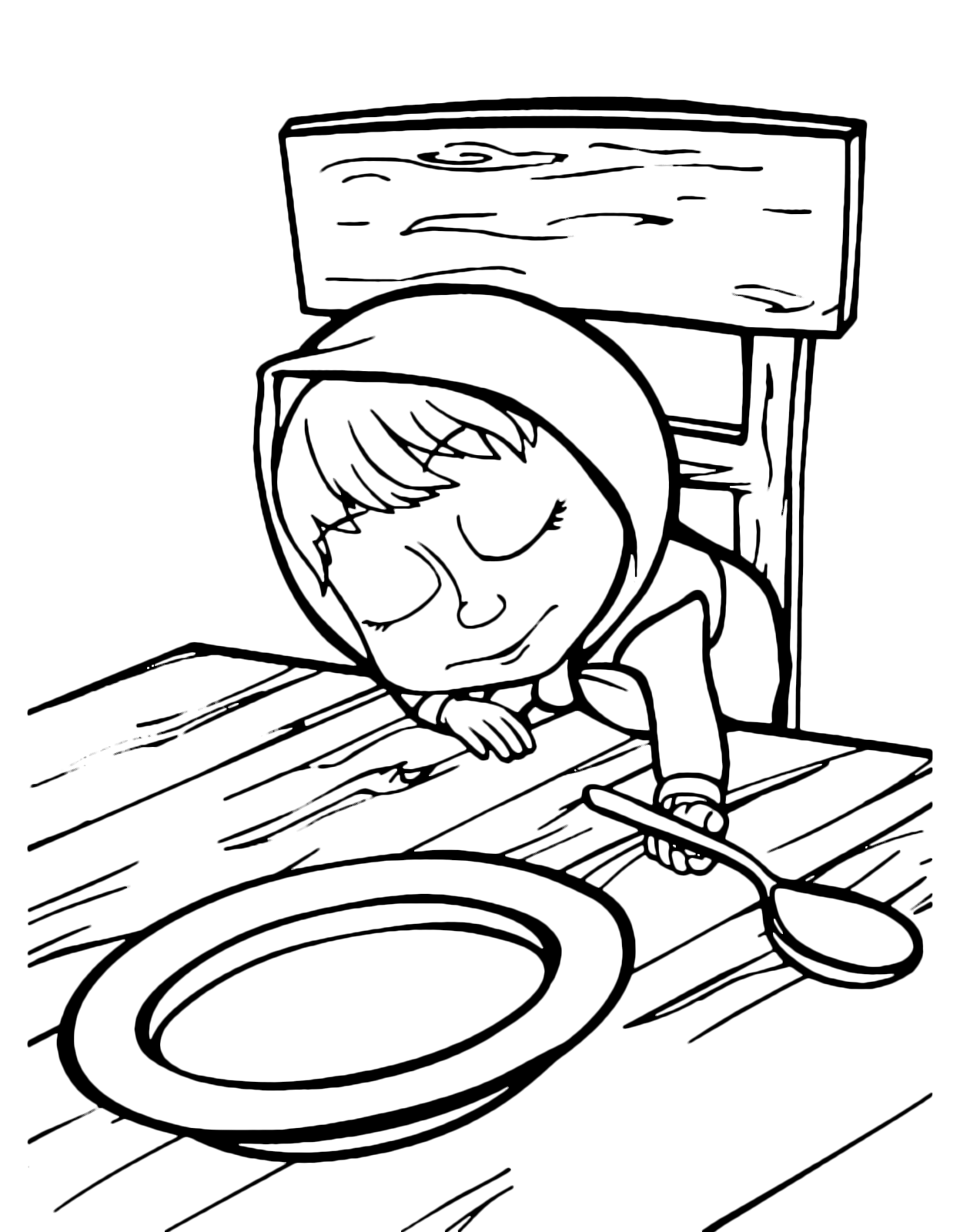 Masha Is Sleeping In Front Of The Empty Dish