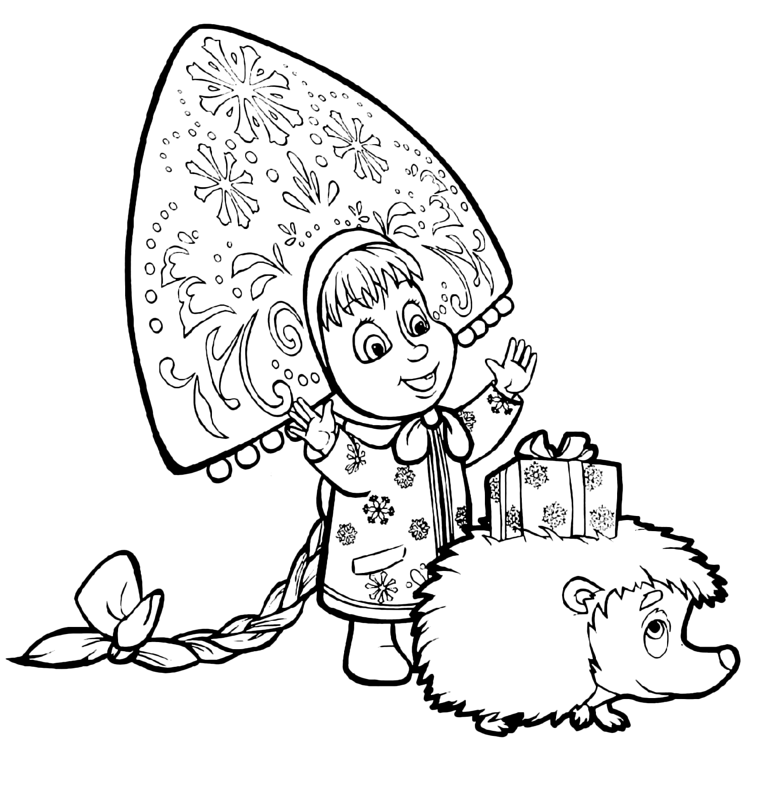 Bear Coloring Page Masha With A Russian Hat Looks Gift On The Back Of Hedgehog