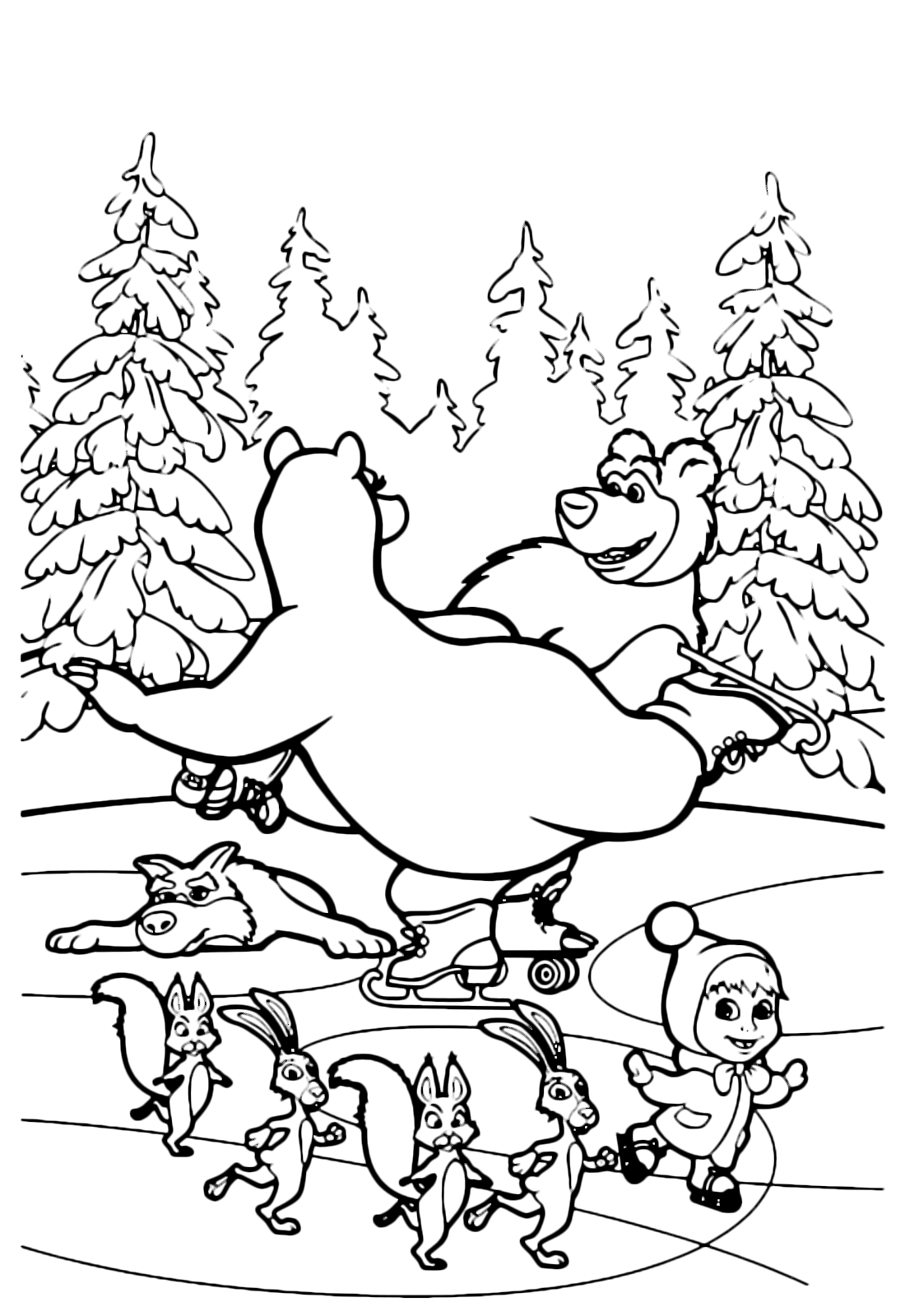 Masha And The Bear Coloring Page Is Dancing On Ice With She All Others Friends