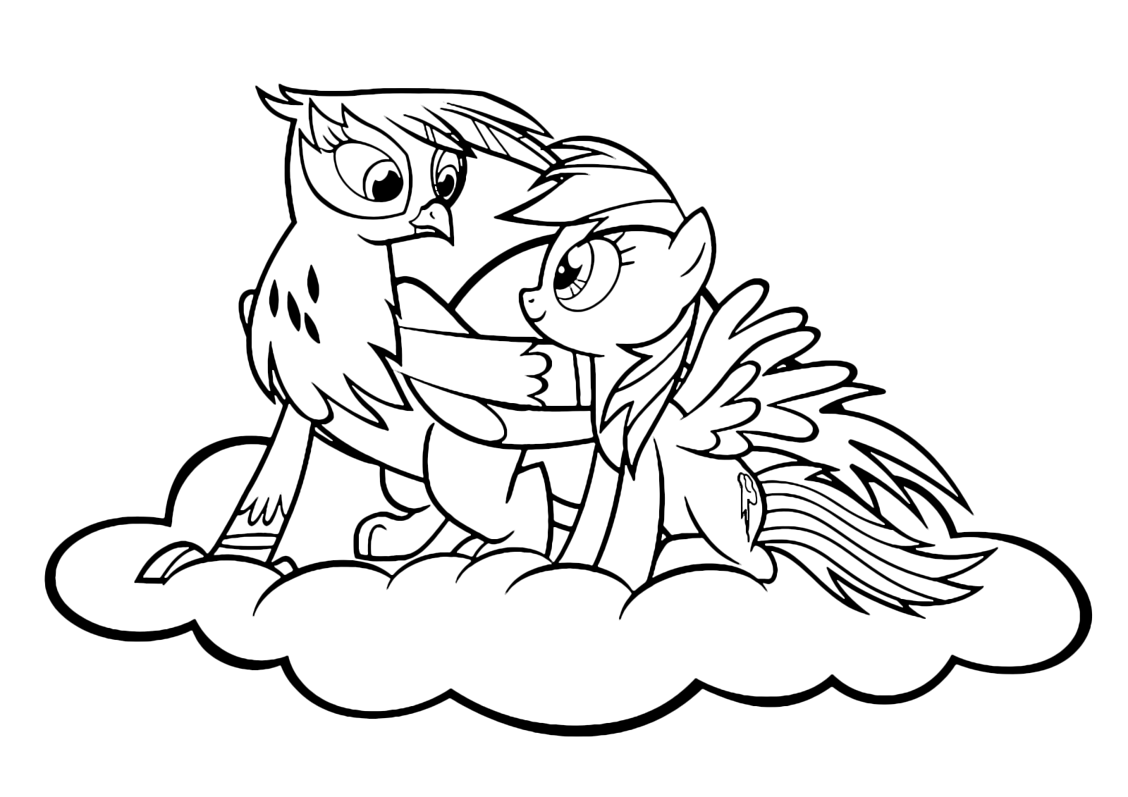 My Little Pony - Rainbow Dash and the griffon Gilda on a cloud