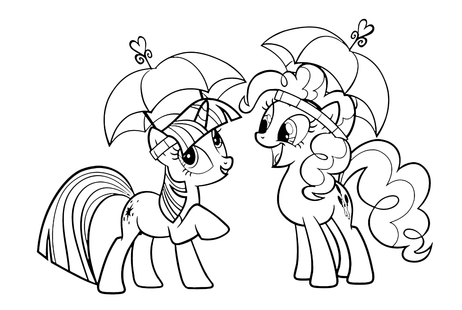 My Little Pony - Twilight Sparkle and Pinkie Pie with an open umbrella