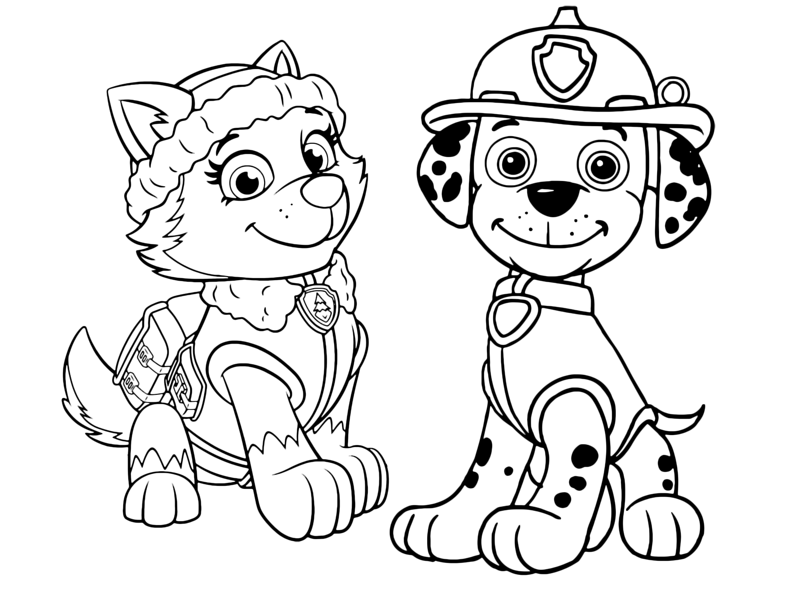 Ausmalbilder Marshall Paw Patrol : Paw Patrol Marshall And Everest Together