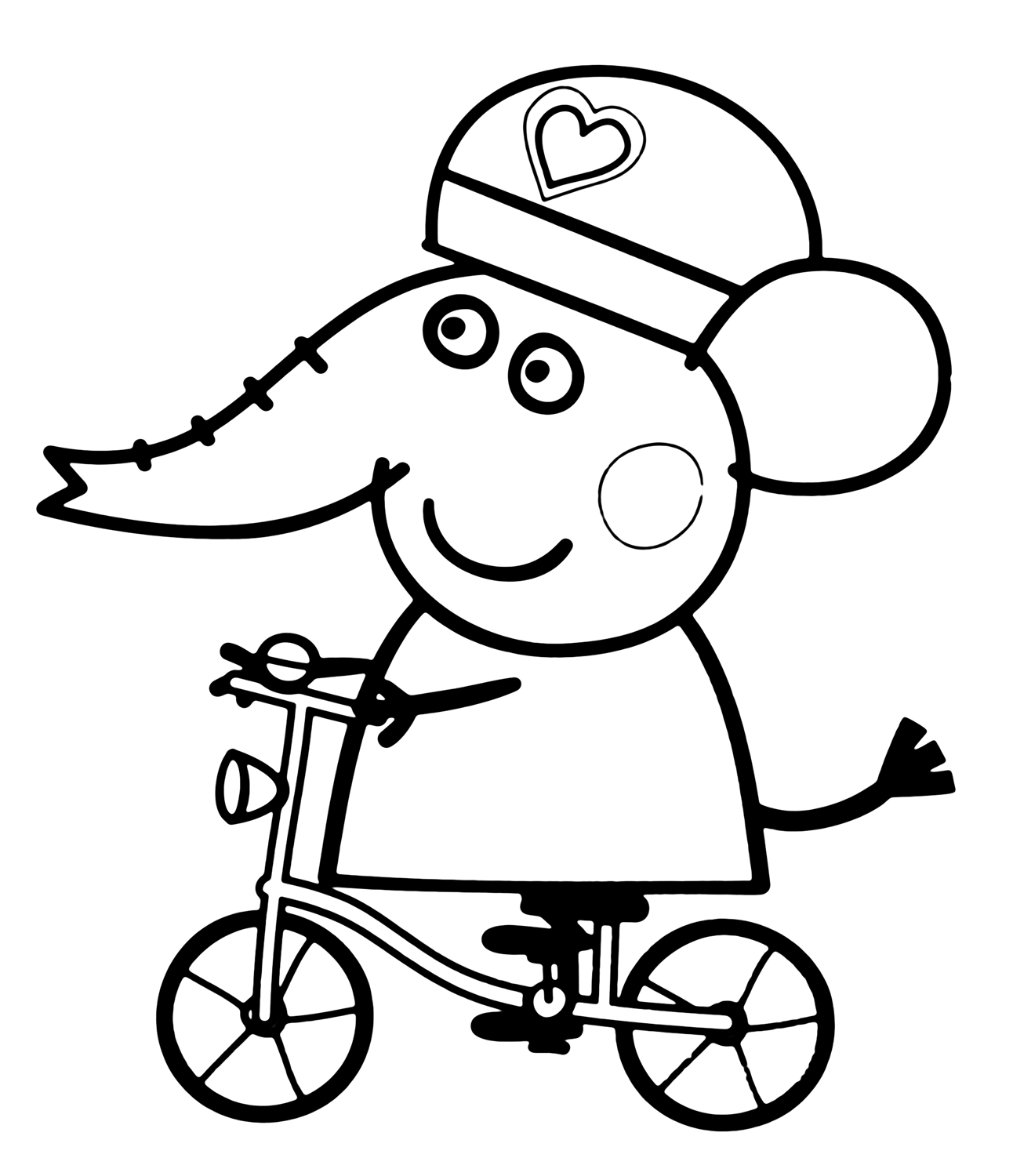 Peppa Pig Emily Elephant in bicycle