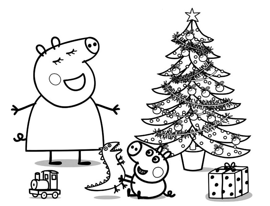 Peppa Pig Natale.Peppa Pig Mummy Pig And George Sing Near The Christmas Tree