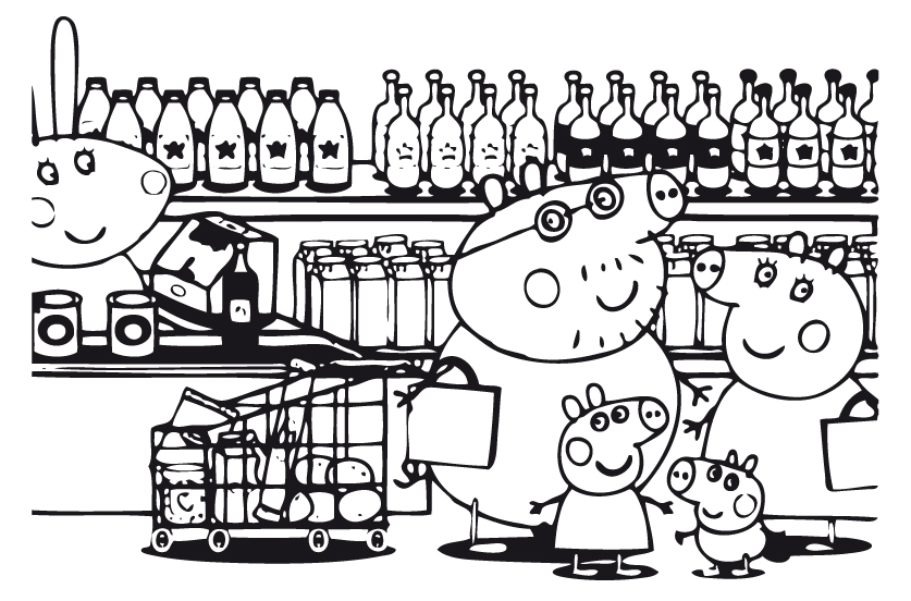Peppa Pig Peppa Pig And Her Family At The Supermarket