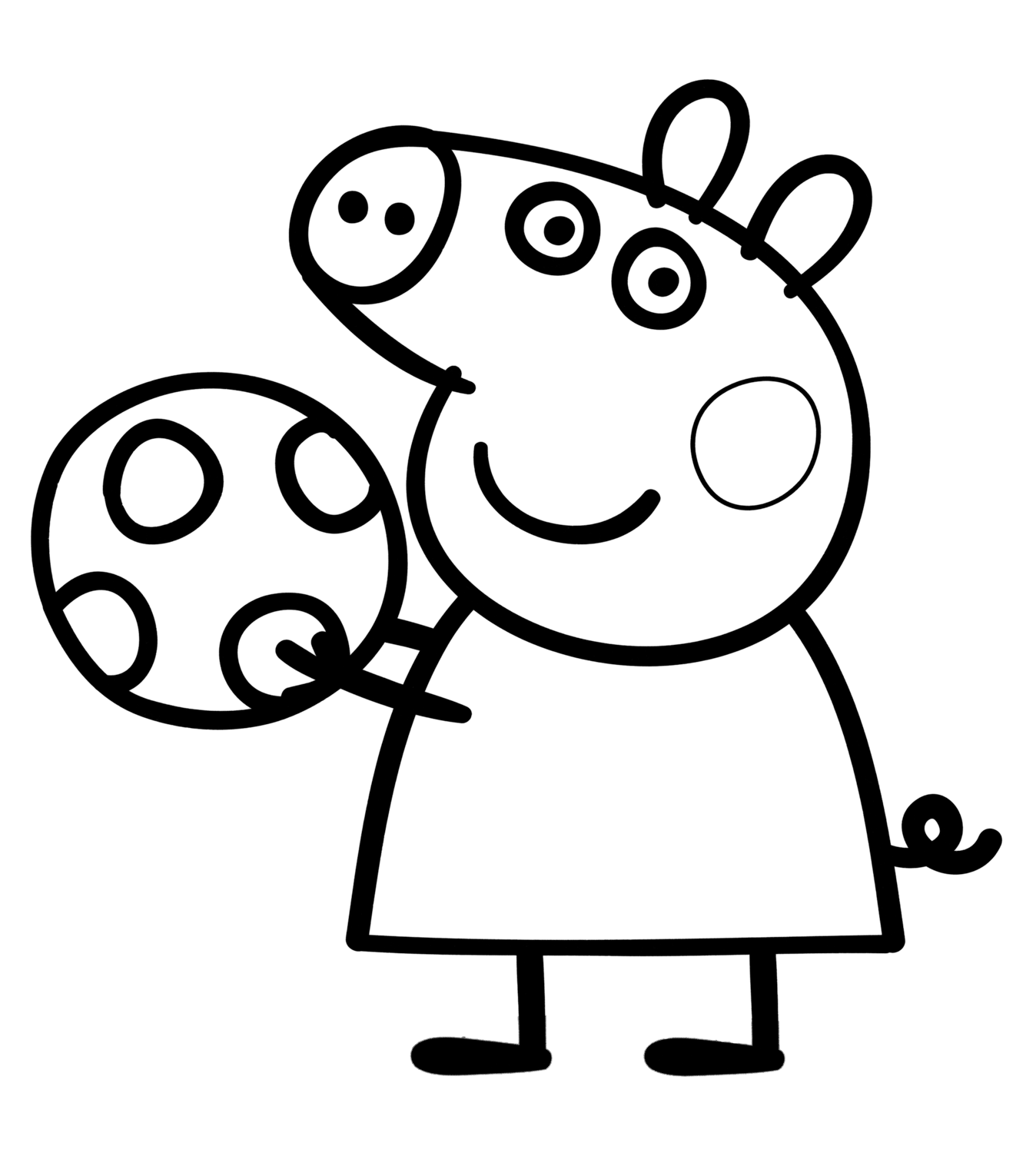 Pig Peppa Pig plays with the ball