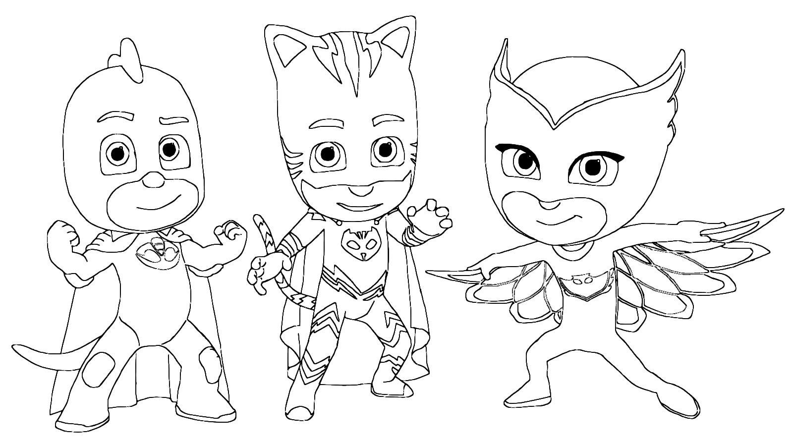 pj masks coloring page connor amaya and greg disguised as catboy owlette and gekko